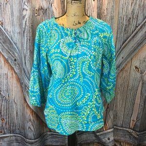 Westbound blue paisley peasant shirt